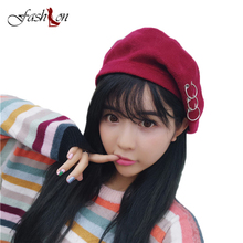 Female Winter Berets Solid Hat Red Pink Gray  Red Black Hat Woman Warm Felt Wool Elegant Lady Vintage Church Hats candy color