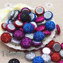 50pcs mix color Flatback shiny Fabric Covered round Buttons Home Garden Crafts Cabochon Scrapbooking DIY 11mm