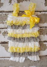 Newborn Baby Clothes White Yellow Grey Lace Petti Rompers
