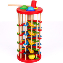 BOHS Pound and Roll Wooden Tower with Hammer Knock The Ball Off Ladder Children Educational Toys(China)