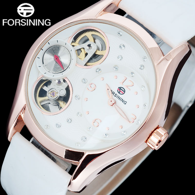 FORSINING Fashion Men Quartz Watch Genuine Leather Strap Casual Brand MenS Skeleton Rose Gold Watches Male Clock Reloj Hombre<br>