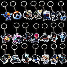 22 style Overwatch LOGO Acrylic Hero keychain Pioneer Q Version Acrylic keyring pendant car chaveiro Charm fans Unisex jewelry(China)