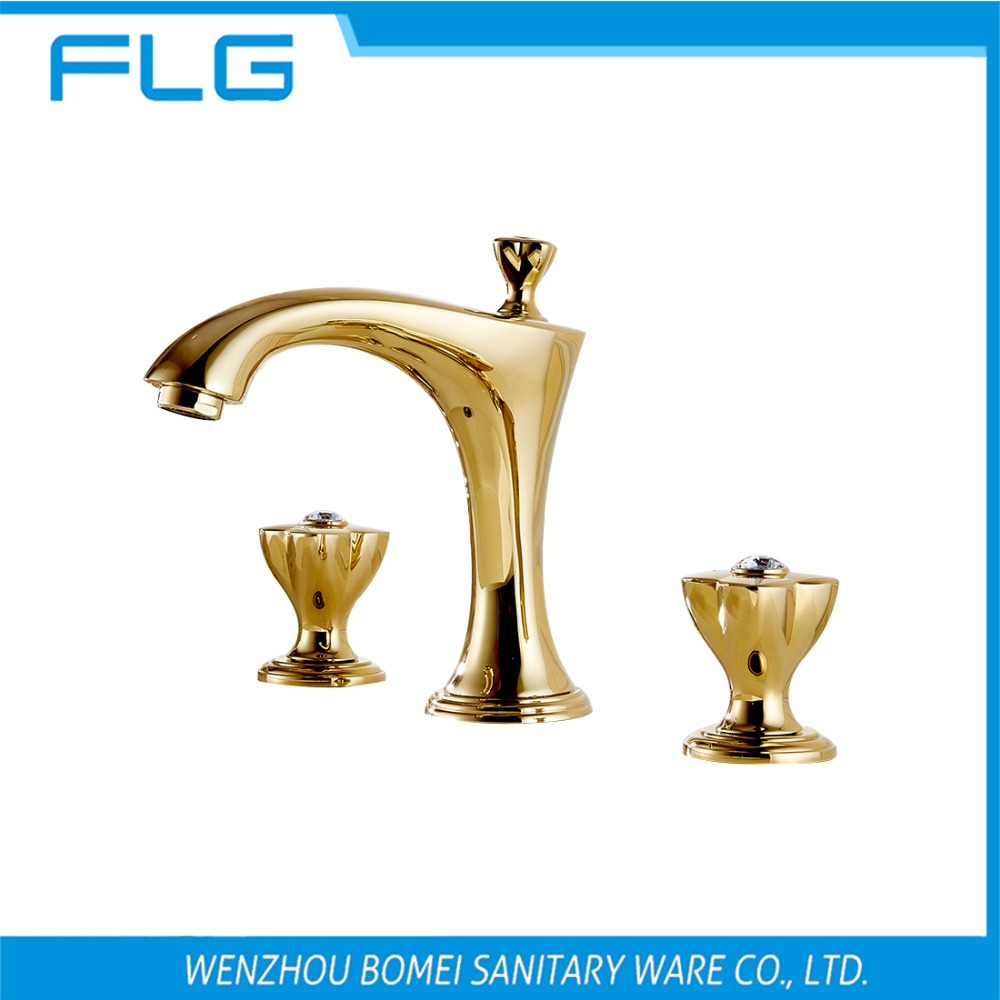 Dual Handle Gold Solid Brass Construction High End Curved Bathroom Basin Sink Faucet FLG100027 Decorated With Crystal<br><br>Aliexpress