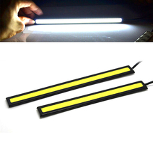 1PIC 17cm COB LED DRL Driving Daytime Running Lights Strip 12V COB LED DRL Bar Aluminum Stripes Panel Car Working Lights(China)