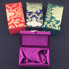 High End Rectangle Tall Silk Brocade Gift Box Necklace Watch bracelet Jewelry Storage Case Cotton Filled Crafts Trinket Packing(China)