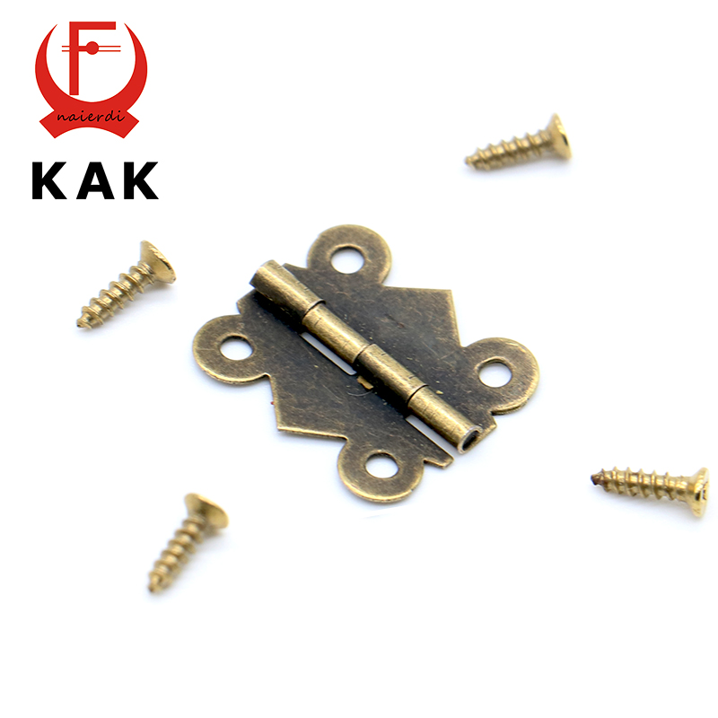 40pcs KAK 20mm x17mm Bronze Gold Silver Mini Butterfly Door Hinges Cabinet Drawer Jewellery Box Hinge For Furniture Hardware(China)