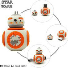 Cartoon cute Star wars bb-8 usb flash drive Pen drive Pendrive 8gb Flash card Memory stick drive 4gb 16gb 32gb real capacity BB8(China)
