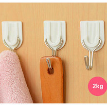 12Pcs Practical Home Hat Bag Key Wall Hanger White Adhesive Powerful Sticky Hook