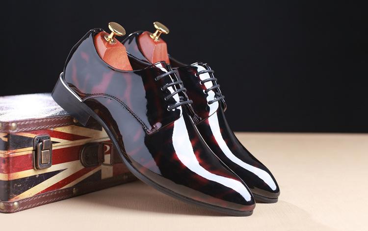 NPEZKGC Big Size 38-48 Men Shoes PU Leather Casual Shoes Fashion Lace Up Oxfrds Shoes Breathable Patent Leather Men Flat Shoes 4