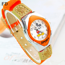 FD Cartoon mickey Students Sports Watch mouse Pattern Fabric Nylon Strap High Quality Quartz Wristwatch 2017 Fashion Kids Clock