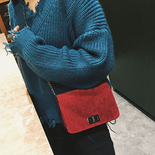 New Corduroy Shoulder & Crossbody Bags Cover All-match Velvet Chain Lock Small Travel Women's Messenger Bag(China)