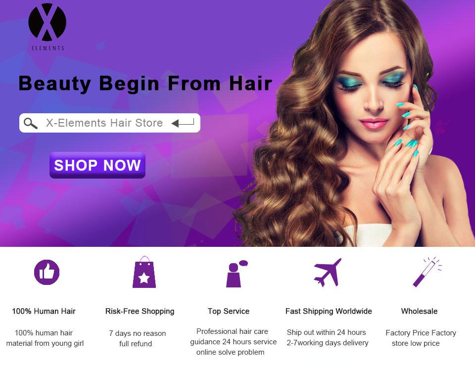 X Elements Loose Wave Human Hair 3 Bundles With Closure Brazilian