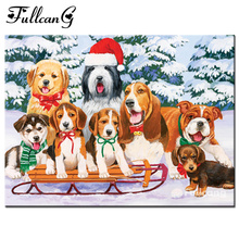 FULLCANG diy 5d mosaic sled dogs diamond painting cross stitch full square diamond embroidery animals painting home decor F009(China)