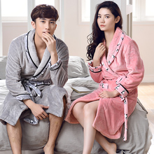 Soft Flannel Couples Bathrobes Women's Robes Winter Dressing Gowns For Women Men Female Nightgowns Kimono Robe Home Clothes(China)