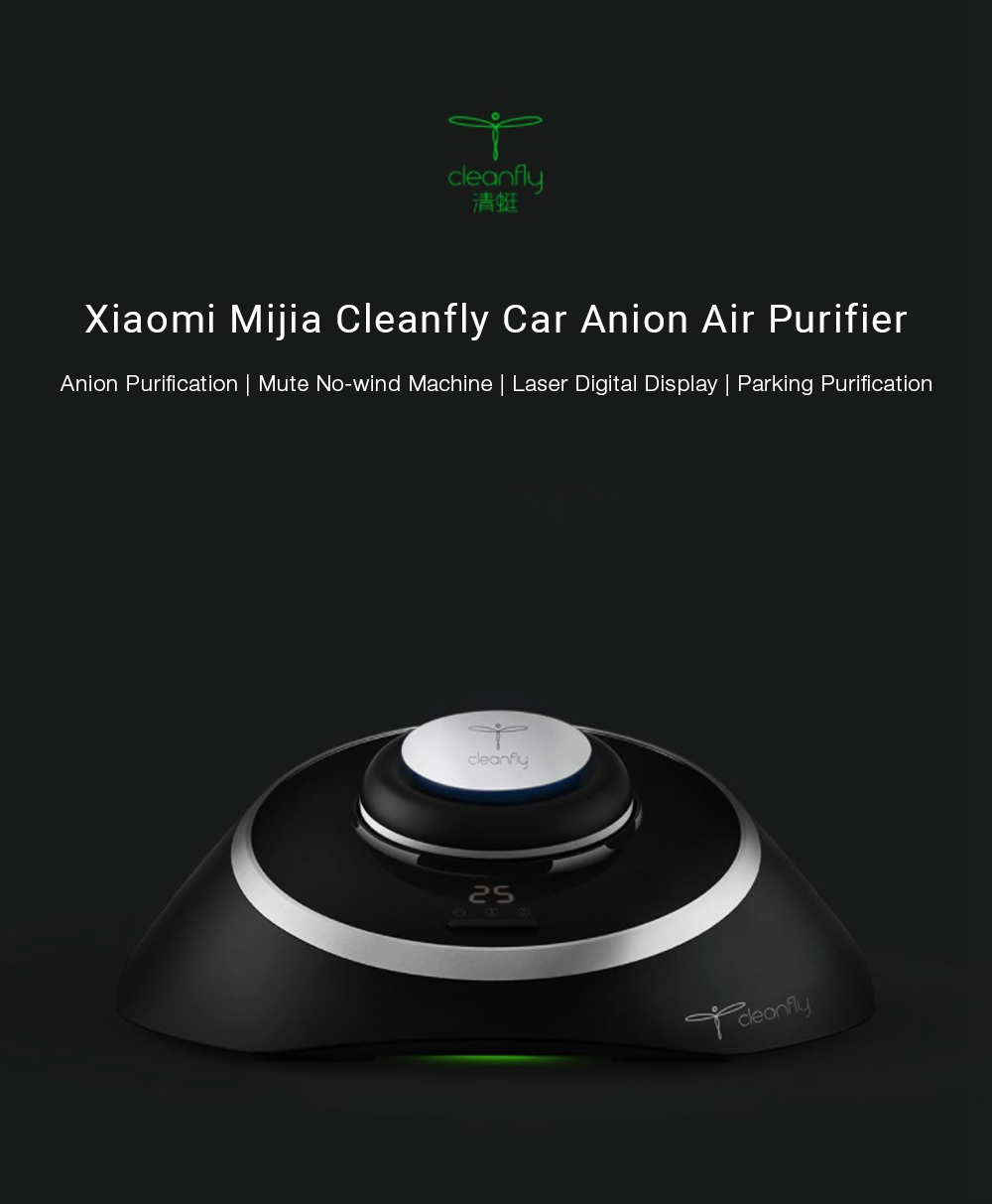 New original Xiaomi Mijia Cleanfly M1 Car Anion Air Purifier LED Display Mute Portable Purifier Support Parking Purification USB (1)