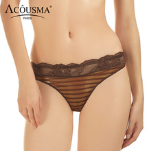 Buy ACOUSMA Women Seamless Panties Sexy Floral Lace T Back Thongs Stripe Panty Ladies G-String Female Comfortable Underwear Lingerie