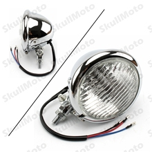 "Chrome 4.5"" Motorcycle Vintage Headlight For Cafe Racer Custom CB Bobber Chopper Honda Yamaha Suzuki Kawasaki Harley(China)"