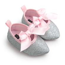 ROMIRUS Bling Bling New Brand Soft Soled Baby Kids Girls Princess Bow Party Crib Babe Soft Soled Prewalker Mary Jane Shoes(China)