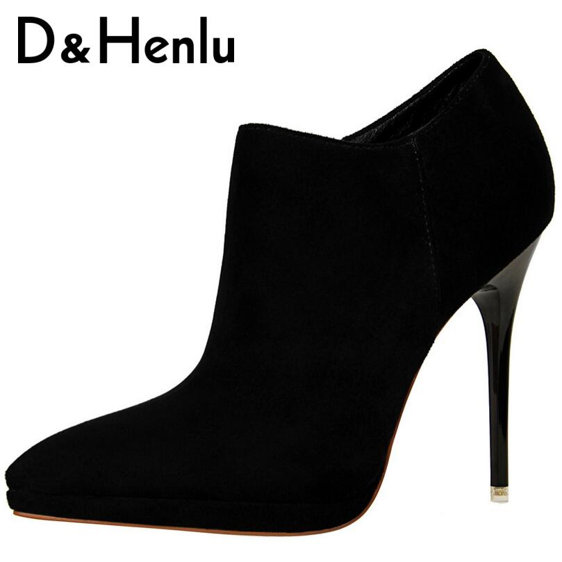 D&amp;Henlu Ankle Boots Buckle Platform Short Boots Women Pointed Toe Thin Heel Martin Boots  High Heel Brand Shoes Woman<br>