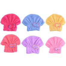 1Pcs New Cute Shower Caps Textile Microfiber Hair Turban Quickly Dry Hair Hat Wrapped Towel Turban Shower Cap Bath Wrapped Towel