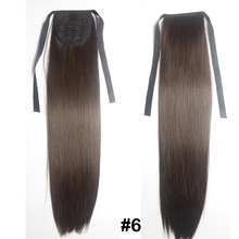 "Free Shipping straight Ponytail Synthetic Hair Clip In On Hair Extensions #6 brown 24""(60cm) 90g"