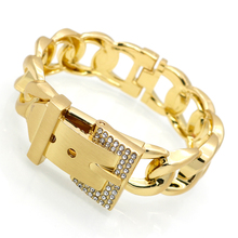 Punk Women Jewelry Smooth Simply Girl Bracelet Gold Color 18mm Wide Bracelets &  Crystal Paved Clasps Belt Buckle