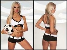 Female Football Player Costume Free Shipping Trikot-Set 3S1412  Sexy Women sport costumes