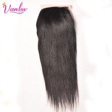 Vanlov Brazilian Straight Human Hair Closure 4x4 Free Part 120% Density Swiss Lace Closure Non Remy Hair Free Shipping(China)