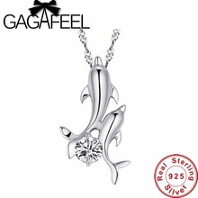 New Arrival beautiful double dolphin crystal pendants for women 100% Pure 925 sterling silver pendant free shipping DN002