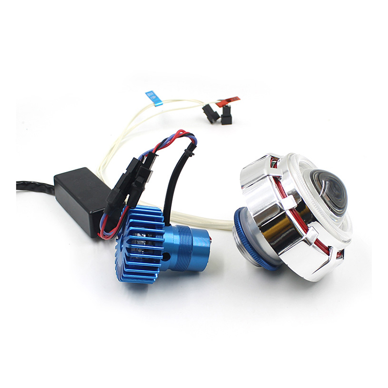 AUTO LED Projector Kit Hi/Low Beam Headlight For Motorcycle Blue Red Angel Devil Eyes<br><br>Aliexpress