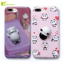 KL-Boutiques Cat Panda 3D Case For iPhone 7 7Plus 6S 6 Plus Cartoon Lovely Funny Toys Silicone Soft Phone Back Cover Fundas