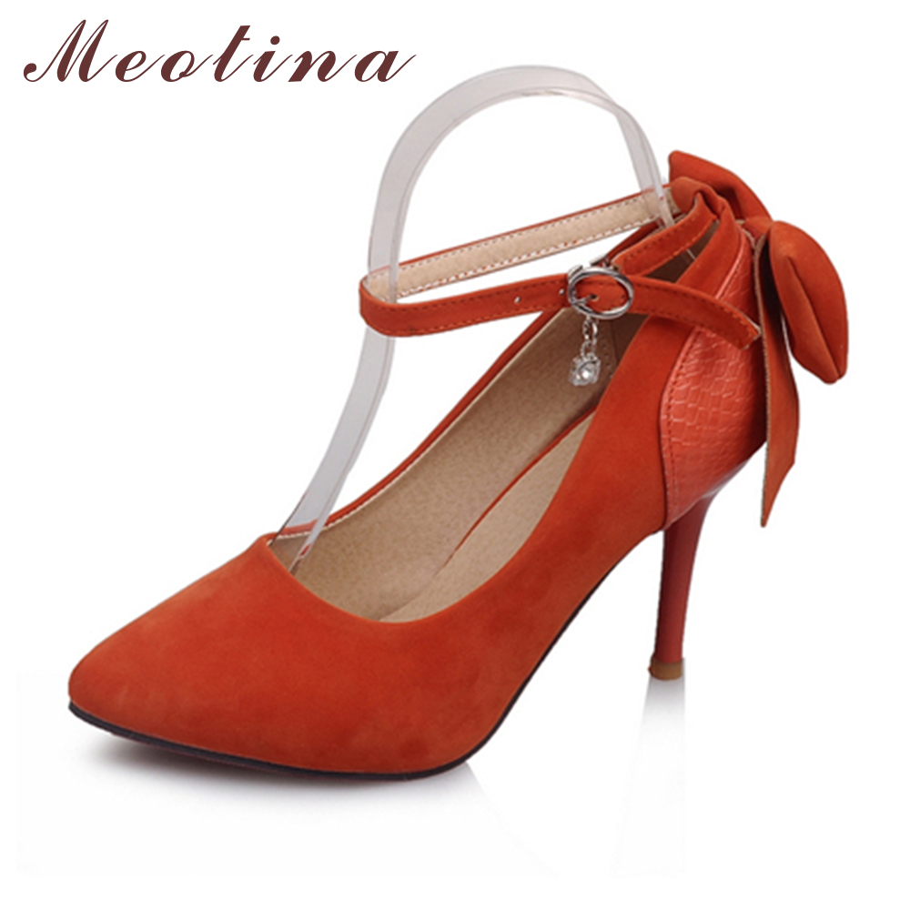 Meotina Womens Pumps Pointed Toe Flock Wedding Stiletto High Heels Female Crystal Black White Orange Shoes Plus Size 34-43<br><br>Aliexpress
