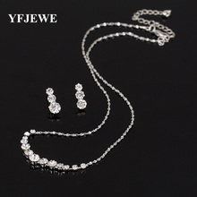 YFJEWE Fashion Austria Crystal Earrings Necklaces Bridal Jewelry Sets Christmas gift Dress Wedding Accessories Jewellery #N190(China)