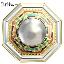 KiWarm Chinese Feng Shui Convex Bagua Mirror Wood Gold Foil Metallic Mirror Drive Out Evil Spirits Home Decor Metal Crafts