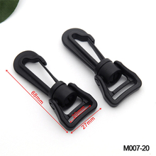 40pcs/lot  M007-20mm black plastic spring snap clip hooks carabiner paracord strap hooks rotary hooks swivel snap hook