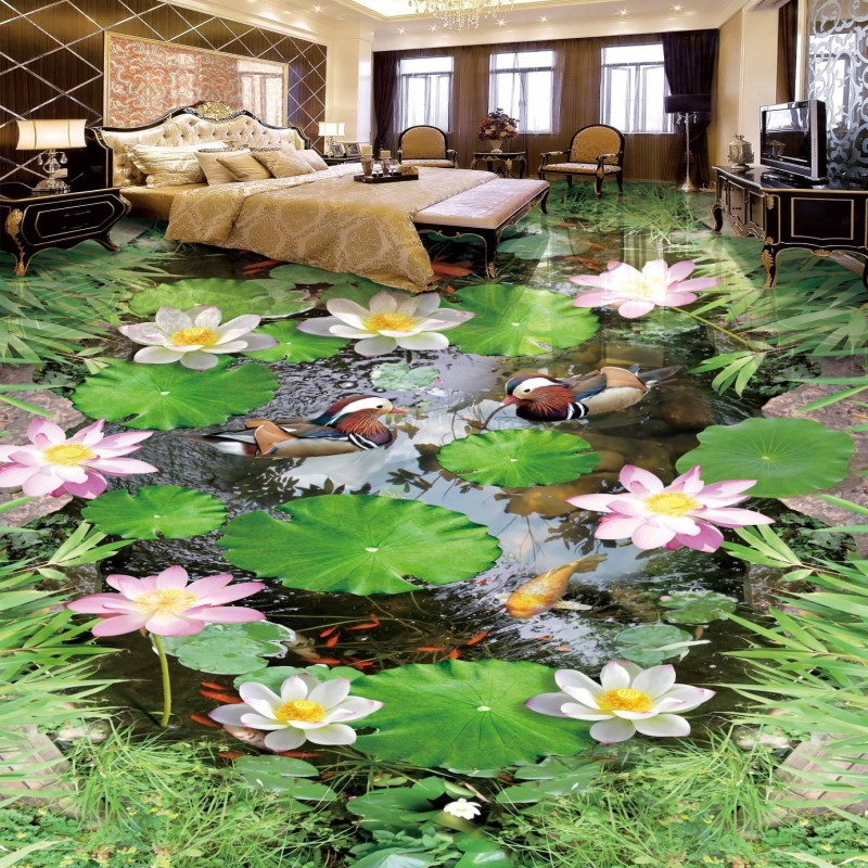 Free Shipping Custom A pool water green Lake 3D floor painting wallpaper bedroom kitchen floor mural<br>