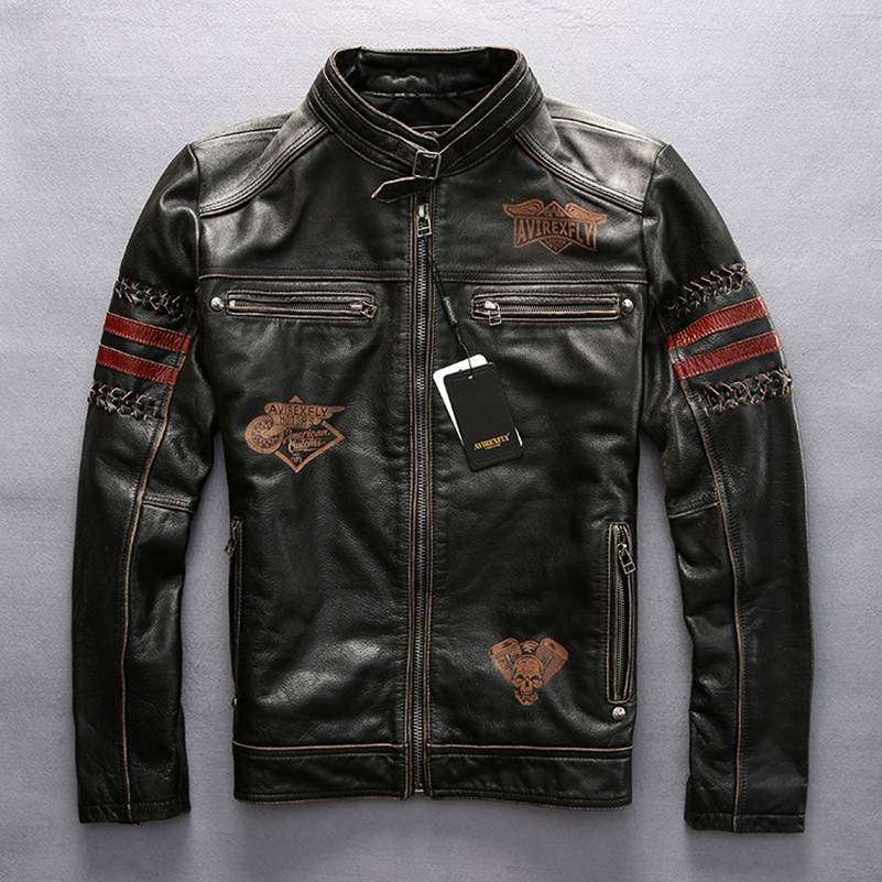 AVIREXFLY 2017 New Men's Black Leather Motorcycle Jacket Man Stand Collar Genuine Short Slim Fit Male Winter Biker Coats