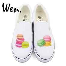 Wen Canvas Sneakers Women Platform Original Macaron Shoes Slip on Flats Design French Dessert Pastry(China)