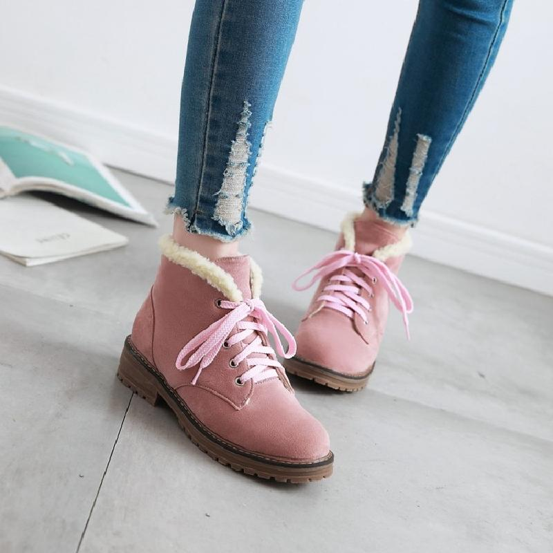 ankle boots for women winter boots snow shoes woman female australia pink beige front lace-up casual autumn warm low boots &amp;902<br>