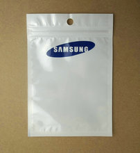 10.5x15cm 1000pcs/lot Clear white Plastic for samsung zipper retail package Poly PP bag USB data cable packaging hang hole bgas