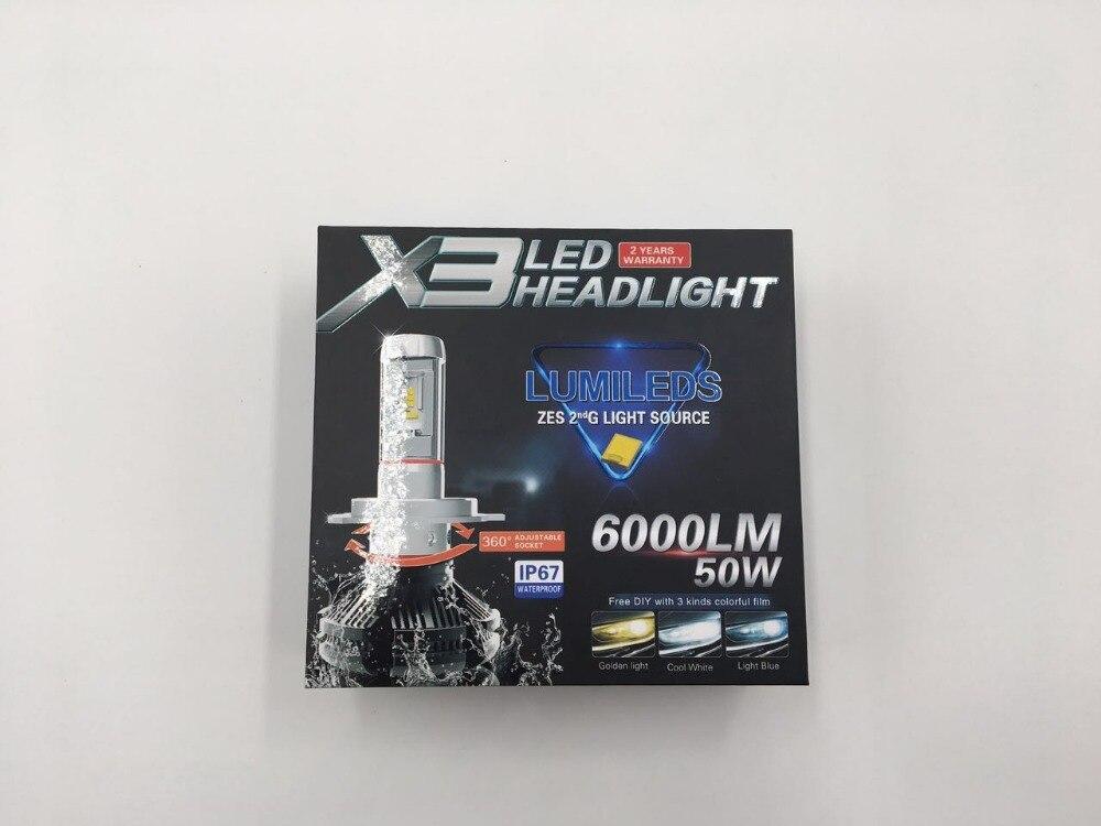 All In One X3 12V 50W 10000LM Superbright Car LED Front Lamp Highlighting  LED Car  headlightsH1/H3/H7/9005(HB3)/9006(HB4)<br>
