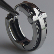 men jewelry cool cross 316L stainless steel men/boy's earring hoop punk(China)