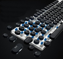 Second Genaration FL-ESPORTS GT-104S USB Wired Mechanical Gaming/Office Keyboard Blue/Brown Switch,White Backlight No Palm Rest