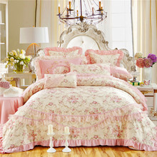 Luxury Silk cotton Princess Jacquard Bedding Set Queen King Size Lace Duvet Cover set Bed sheet bed linen Pillowcases 4/6/9Pcs
