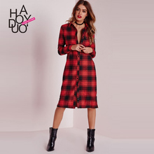 PEILING DRAGON 2017 spring and summer red plaid dress fashion design long one-piece dress