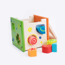 Colorful Intelligence Box Finely Crafted Wood Shape Sorting Cube Box Educational Toy Hot Wooden Toys for Toddler Baby&Kids
