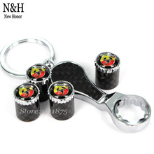 Car Styling Carbon Fiber Wheel Tire Valve Stems Caps For ABarth Logo For FIAT ABarth Panda 500 Punto EVO Linea Sedici Bravo