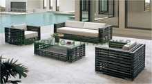 China rattan material living room sofa set furniture with cushions