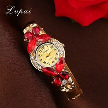 Lvpai Watches Women Fashion Rhinestone Butterfly Watch Bracelet Watch Wristwatch Cheap Electronic Clock Women Dress Watches(China)