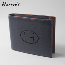 2018 New Sesign Harrms Brand Short Ostrich skin genuine leather men wallets blue color high quality purse(China)